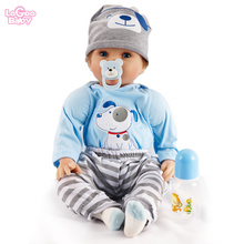 Logeo Baby 22 inch Silicone Reborn baby doll lovely Lifelike Newborn Bebes Reborn lol Dolls Kids Dollhouse Toys Birthday gift silicone reborn baby doll 22 inch real lifelike newborn dolls girl children birthday xmas gift