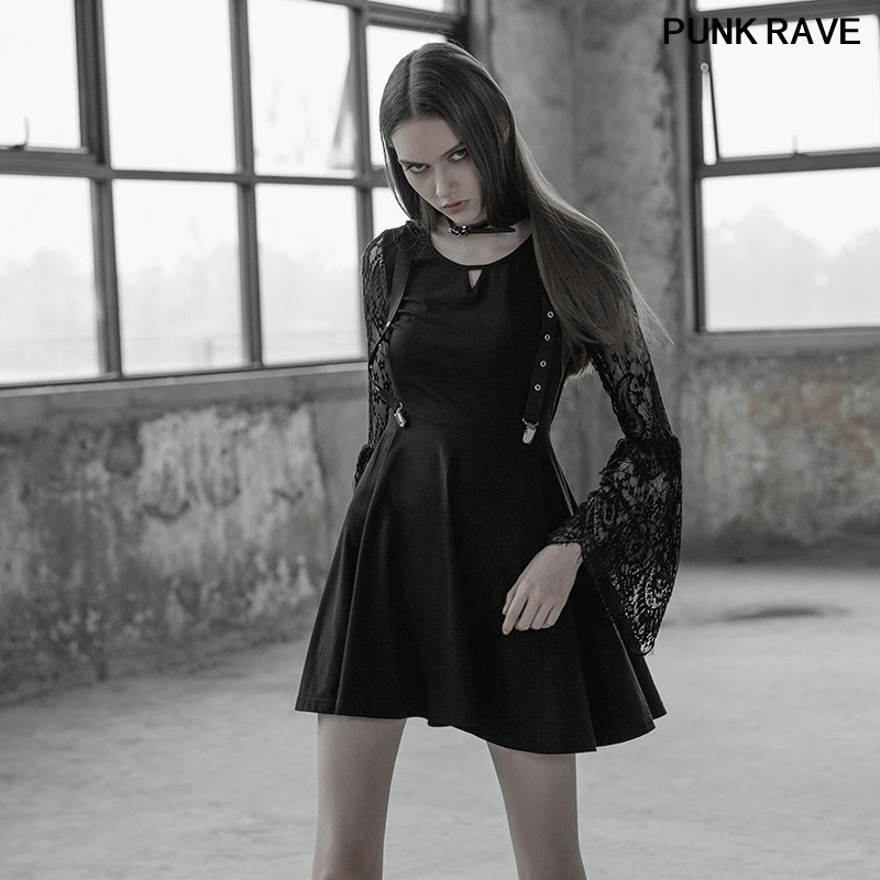 Fashion Metal Buckle Design Slim sexy dresses Gothic Dark Lace Sleeves Hollow out V Collar Fake Braces Dress PUNK RAVE PQ 391