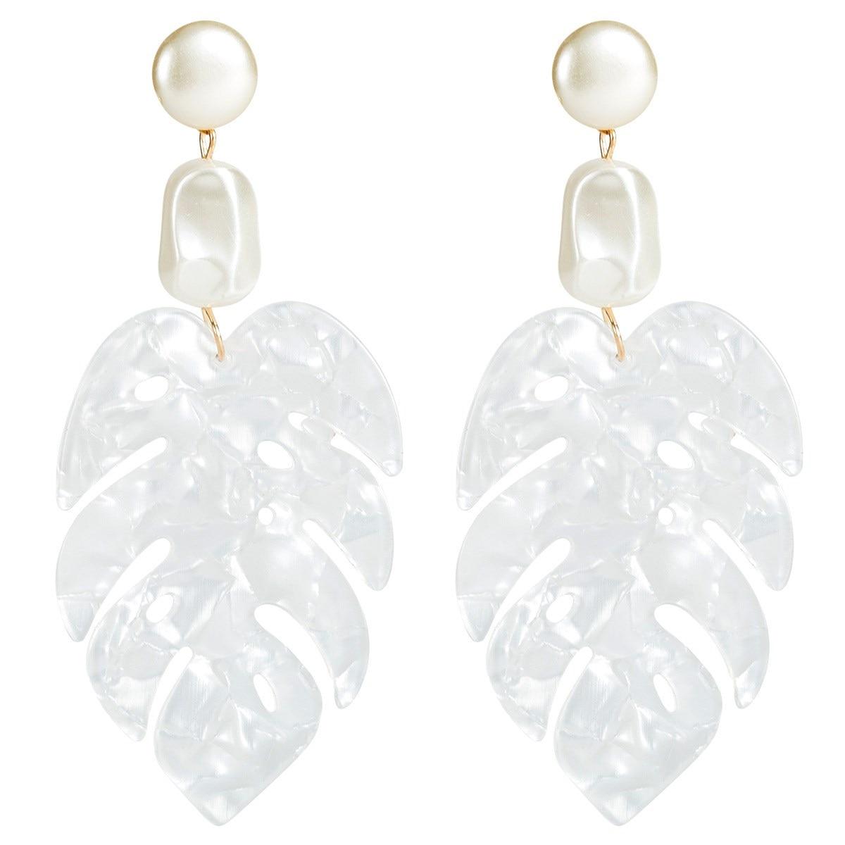 2019 New Arrival White Color Resin Leaf Drop Earring Big Geometric Boho Dangle Earring in Drop Earrings from Jewelry Accessories