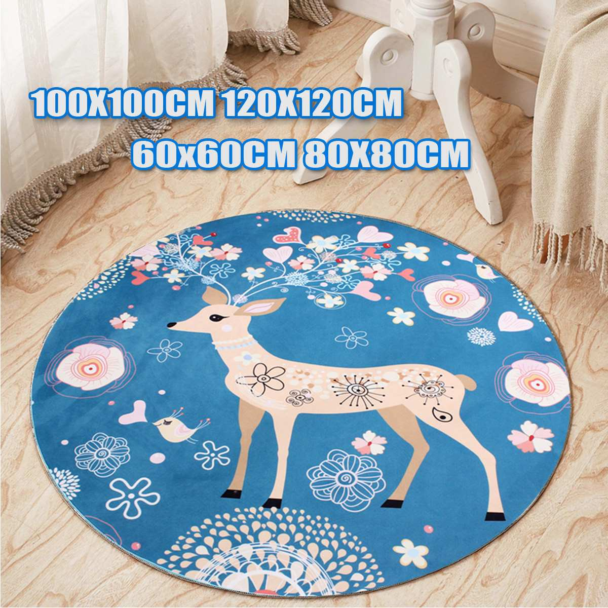 Cute Deer Heart Floral Pattern Round Floor Mats Computer Chair Mat Antiskid Carpet For Living Room Bedroom Kids Room