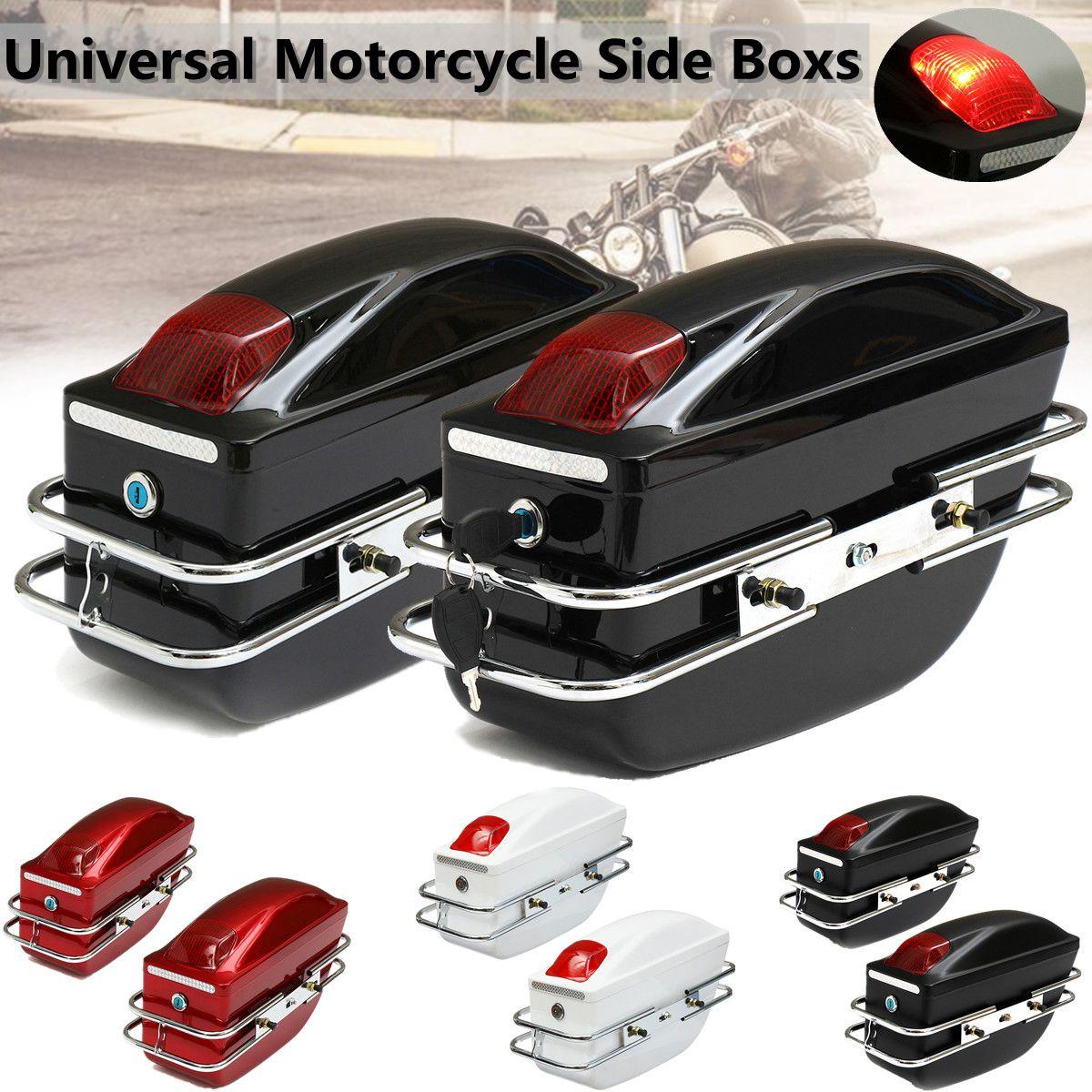 1 par Universal de cajas laterales de la motocicleta bolsa de la herramienta de la cola del tanque del equipaje bolsas de sillín de la caja dura para Kawasaki/Honda