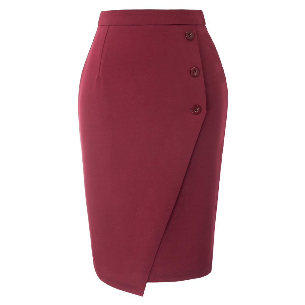 GK Vintage Wrap Skirts Womens High Waist Three Buttons Decorated Back Split Bodycon Pencil Office Lady Work Wear Business Skirt