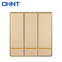 CHINT Wall Switch Socket NEW2D Champagne Gold Panel Three Gang One Way 10A Frame Wall Switches chint lighting switches 118 type switch panel new5d steel frame four position six gang two way switch panel