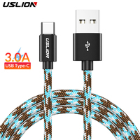 USLION USB Type C Cable Fast Charging usb c data Cord Charger usb-c For Samsung S8 S9 S10 Note 8 xiaomi mi 9 mi9 Huawei P30 P20 Mobile Phone Cables