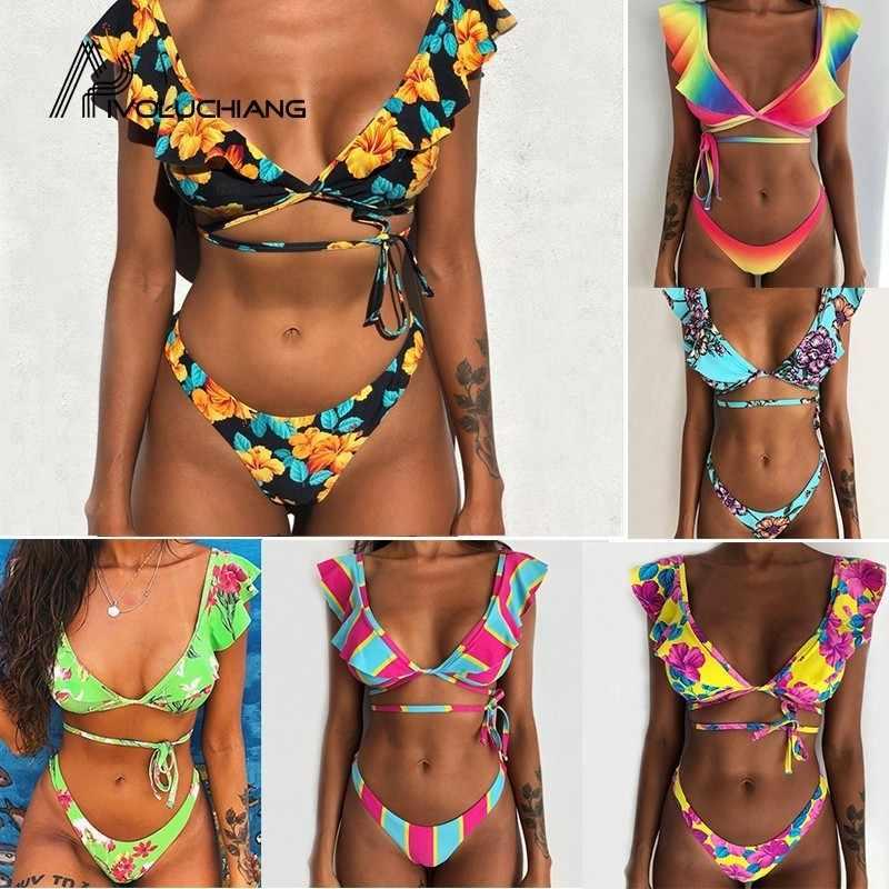 Babados Estampas florais Biquínis Brasileira Mujer Banhistas Bandagem Sexy Swimwear Mulheres Maiô Empurrar Para Cima Profunda V Maiô Feminino