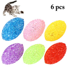 6PCS Cat Ball Toy Creative Funny Interactive Cat Play Toy Kitten Toy With Bell Pet Toy Oval Particle Ball With Bell Random Color