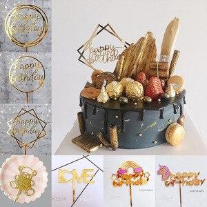 Image 2 - Topper สำหรับเค้กทำจากอะคริลิค Glitter เค้กวันเกิดแฮปปี้ Topper ตกแต่งแขวนแบนเนอร์ Baby Shower Wedding PARTY Supplies