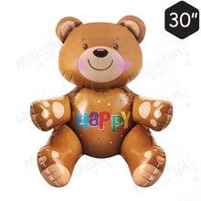 1 шт., большие 3D воздушные шары в виде медведя, милые вечерние игрушки, воздушные шары из фольги, вечерние шары в шляпу для детей от 0 до 5 лет, рождественские игрушки для детей