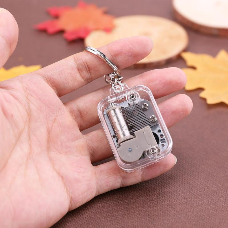 Kids DIY Music Box Moving Keychain Handy Crank Musical