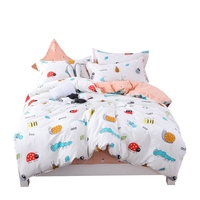 Kids cartoon insect print bedding sets 100% cotton bee ant picture bedlinen home textile for kid boy girl adults 4pcs linen