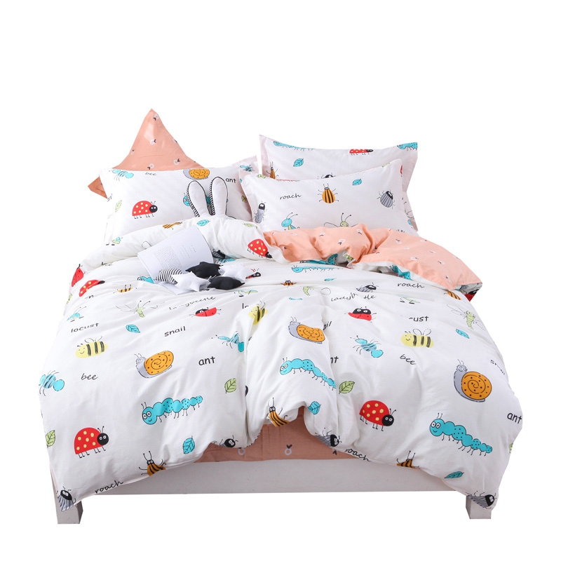 Kids cartoon insect print bedding sets 100% cotton bee ant picture bedlinen home textile for kid boy girl adults 4pcs linenKids cartoon insect print bedding sets 100% cotton bee ant picture bedlinen home textile for kid boy girl adults 4pcs linen