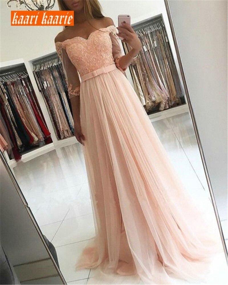 Élégant perle rose longues robes de bal 2019 femmes robe de soirée chérie Tulle Appliques a-ligne longueur de plancher Slim Fit robe de soirée