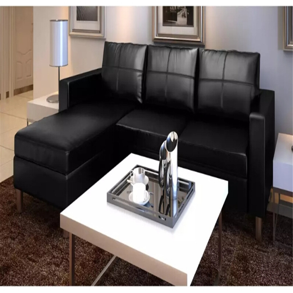 Vidaxl 3 Seat Modern L-Shaped Sectorial Synthetic Leather Black Living Room Sofa Child-Friendly Assembly Living Room Furniture