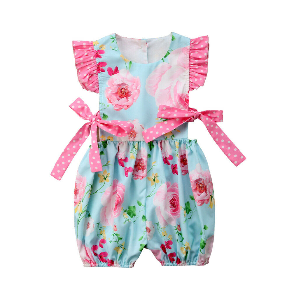 Cute Newborn Baby Girl Ruffles Sleeveless Floral Bow Princess Girls   Romper   Jumpsuit Outfits Summer Clothes