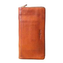 2019 new mens long wallet Top Quality retro handmade oil leather crazy horse zipper handbag coin dollar purse