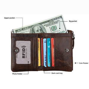 Image 5 - Ataxzome本革財布メンズショートコイン財布ヴィンテージブランド耐磁rfid財布ナチュラル牛革メンズギフトW3580