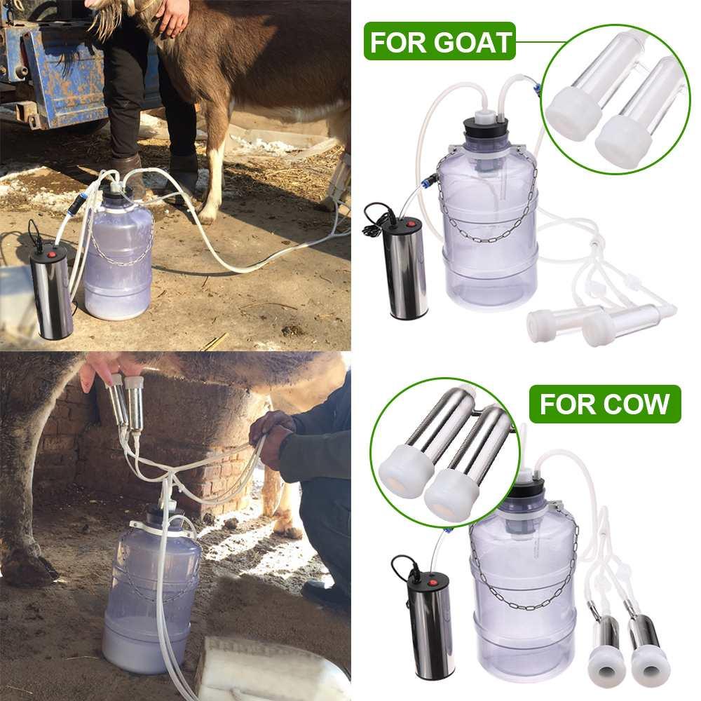 24 Вт электрическая Доильная машина корова; Коза; овца Milker двойной вакуумный насос ведро безопасности еды пластиковые доильные машины