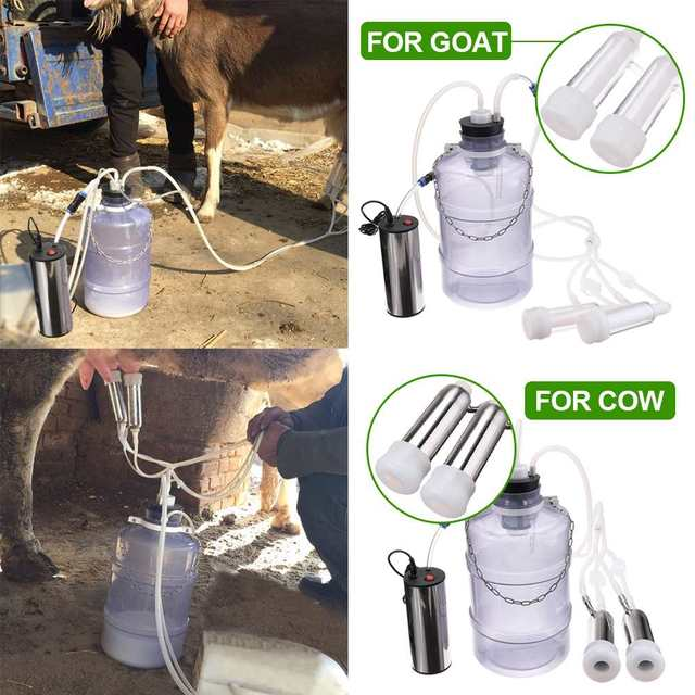 24W Electric Milking Machine Cow Goat Sheep Milker Dual Vacuum Pump Bucket Food Safety Level Plastic Milking Machines