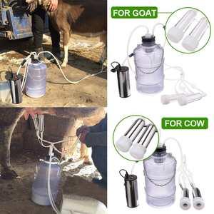 Image 1 - 24W חשמלי מכונת חליבה פרה עיזים כבשים מכונת חליבת משאבת ואקום כפול דלי מזון רמת בטיחות פלסטיק מכונות חליבה
