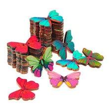 Botões de madeira 50 peças, borboleta forma 2 buracos botão de costura crianças scrapbook artesanato diy decoração de casamento (cor aleatória)