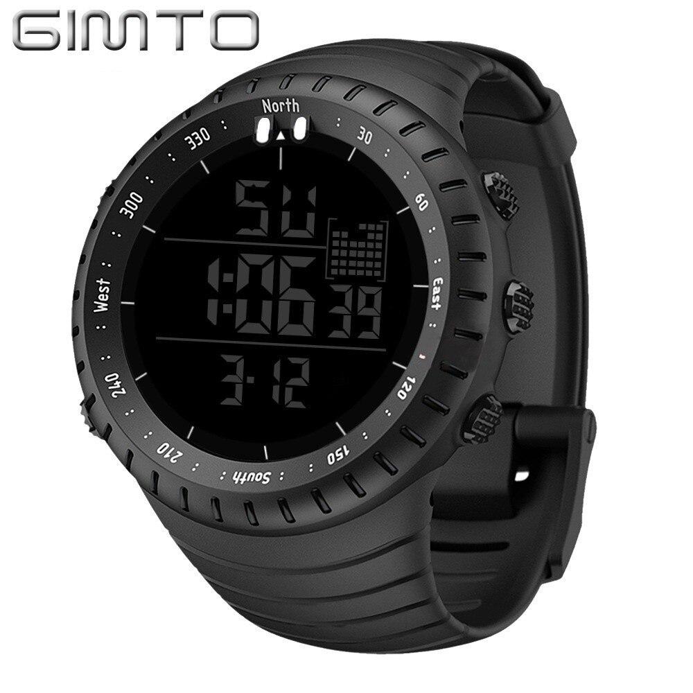 Gimto grande relógio digital masculino esportes relógios para a execução cronômetro à prova dmiliágua militar led eletrônico relógios de pulso masculino 2019 presente
