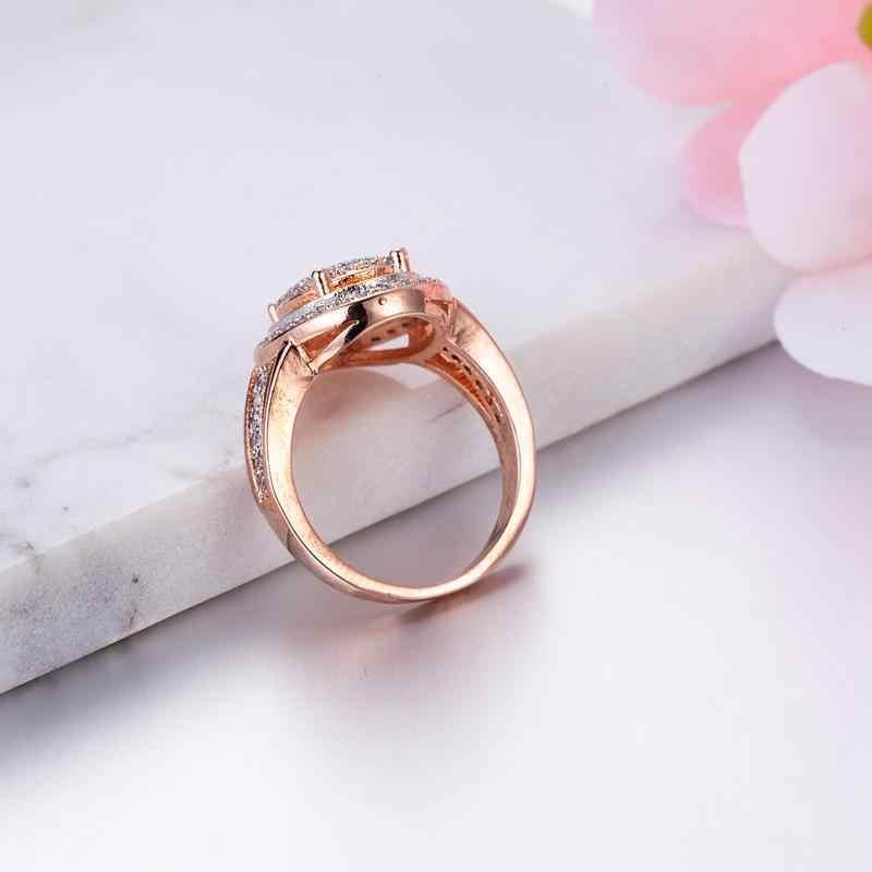พลอยไพลินแหวน Rose Gold หมั้นเครื่องประดับ