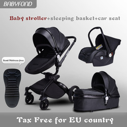 ¡Envío Gratis! babyfond marca 3 en 1 cochecito de bebé de la aleación de aluminio de bebé de cuero de dos carrito de bebé 2 en 1 cochecito