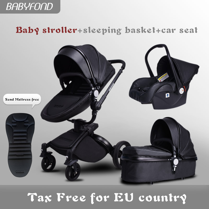 EU Fast Sihp ! Luxurious 3 In 1 Baby Stroller Aluminium Alloy Baby Pram Leather Two-way Shock Baby Trolley With Gifts Umbrella