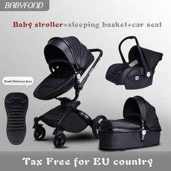 Transporte rápido! Luxuoso 3 em 1 carrinho de bebê liga de alumínio carrinho de bebê de couro em dois sentidos choque carrinho de bebê com presentes guarda-chuva