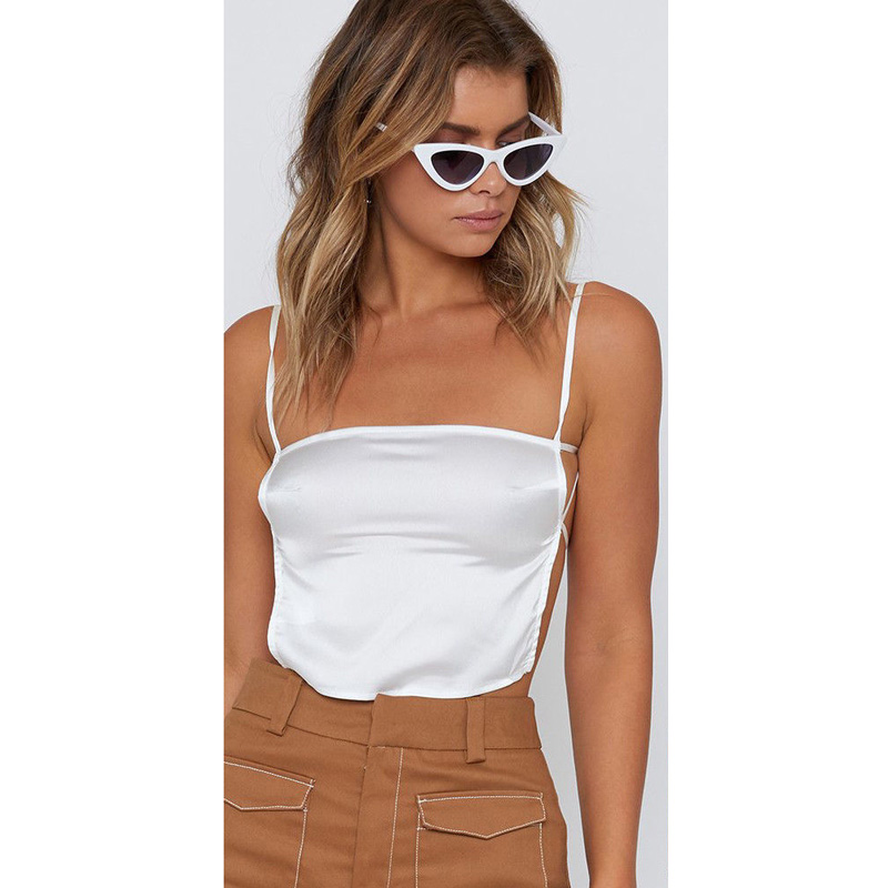 NEW Women Camis Backless Casual Solid Tank Tops Sexy Sleeveless Crop Tops Mujer Summer Bellyband 2019