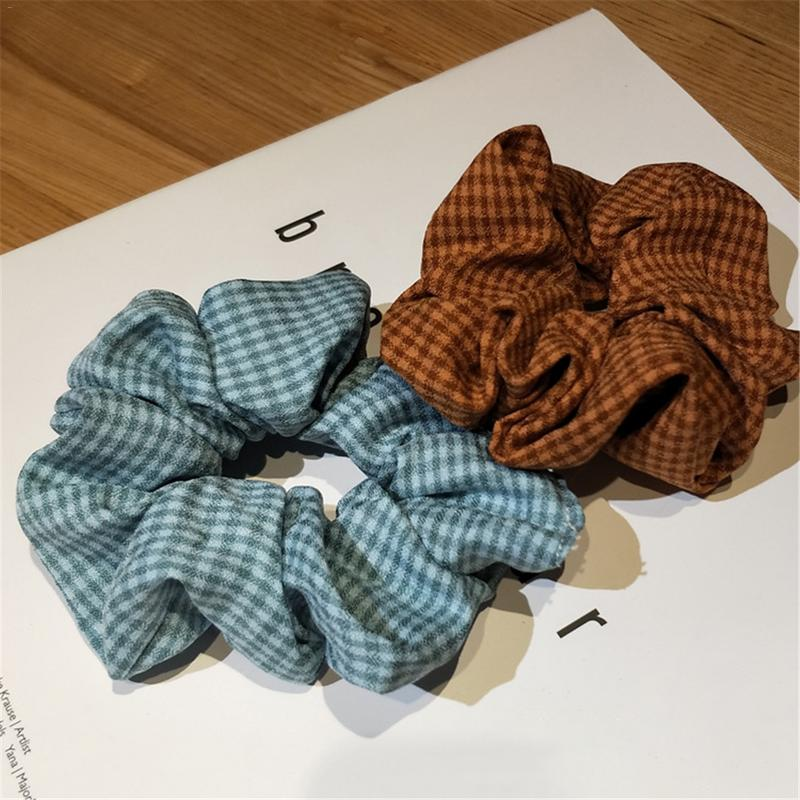 Hair Scrunchies Vintage Plaid Print Solid Houndstooth Design Women Hair Accesorios Hair Tie Hairband Ponytail Hair Holder Rope in Women 39 s Hair Accessories from Apparel Accessories