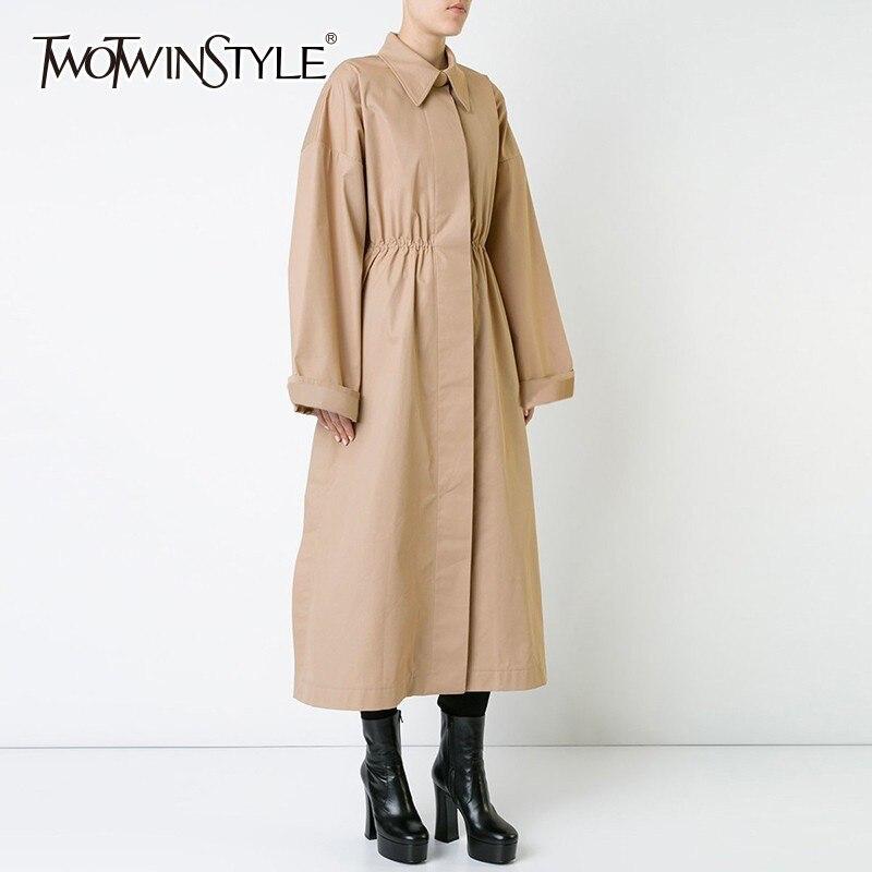 TWOTWINSTYLE Khaki Trench Coat Female Lapel Collar Long Sleeve High Waist Long Windbreaker Women Spring 2019 Casual Fashion