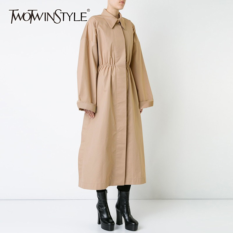 TWOTWINSTYLE Khaki   Trench   Coat Female Lapel Collar Long Sleeve High Waist Long Windbreaker Women Spring 2019 Casual Fashion