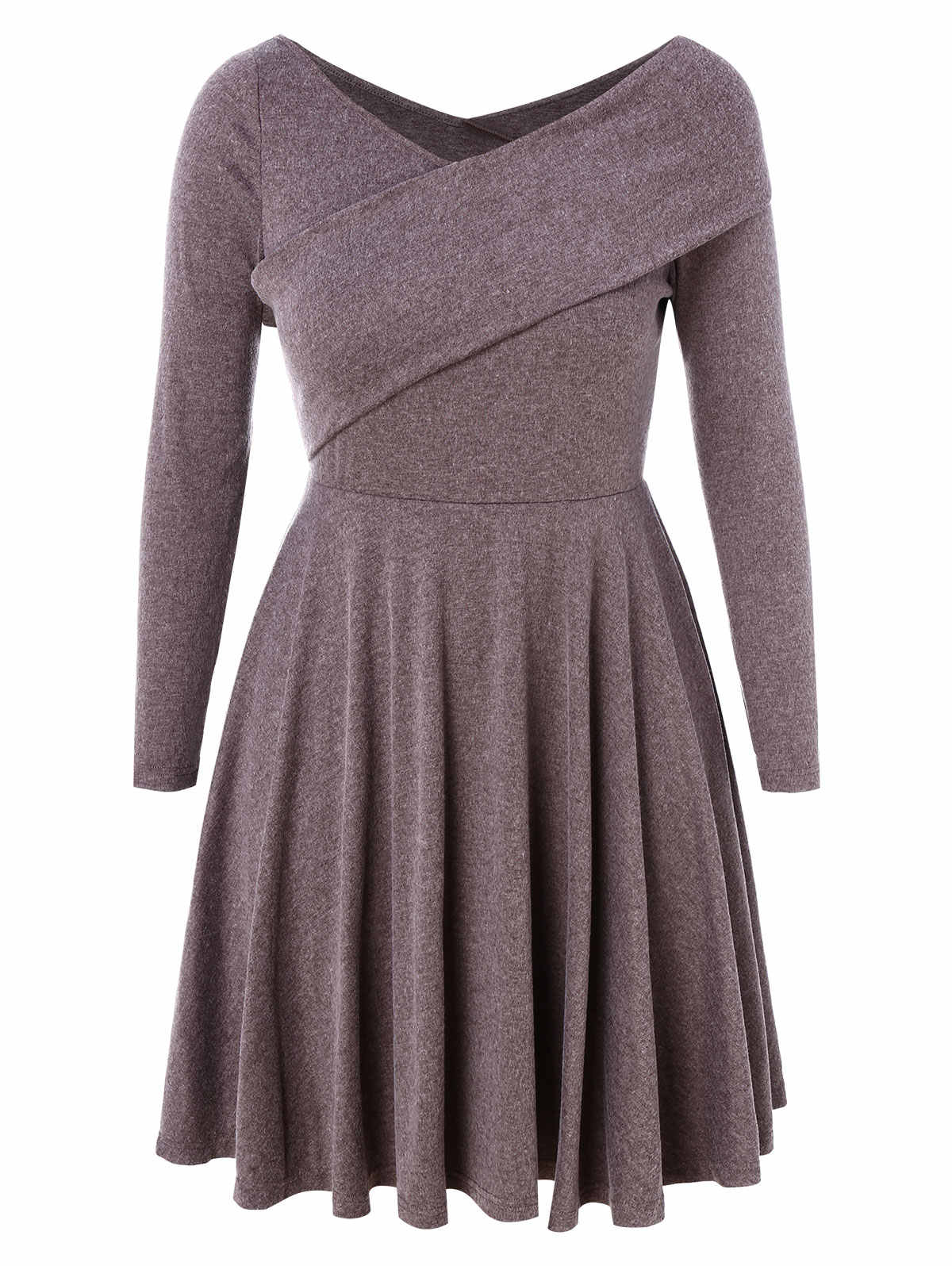 Wipalo Women Plus Size Embellished Fit And Flare Skater Dress V Neck Long  Sleeves Casual Solid Knit Dress Spring Ladies Vestidos