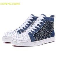Роскошный Синий змея текстуры на шнуровке Для мужчин многоцветные заклепки обувь модные вечерние красной подошвой кроссовки кожаные ботин