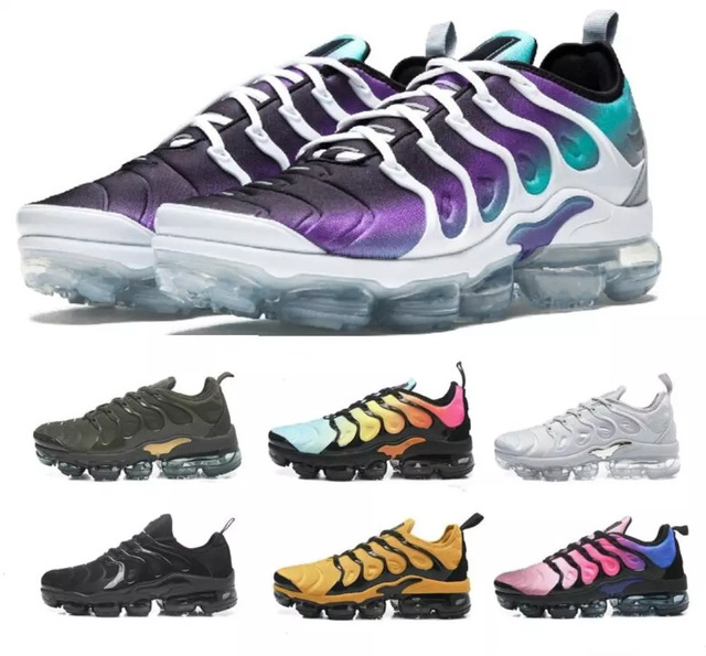 free shipping 36b6d 7cf45 US $30.88 5% OFF|2018 Vapormax Tn Plus Vm Barely Grey In Metallic Women Men  Running Sports Designer Shoes For Mens Sneaker Vapormax Shoes-in Running ...