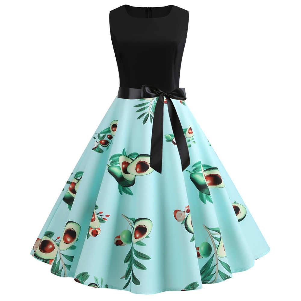 Joineles/летнее женское ретро платье с фруктовым принтом, зеленый сарафан с авокадо, сексуальное леопардовое Платье с принтом зебры, женское винтажное платье Vestidos