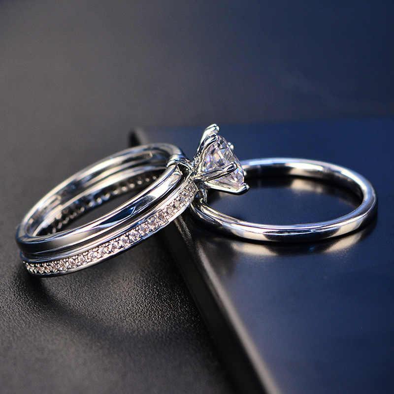 PANSYSEN, 7mm, redondo, blanco, 4A, juego de anillos de circón, Genunie 925, joyería de plata, compromiso nupcial clásico, anillos de boda para mujeres