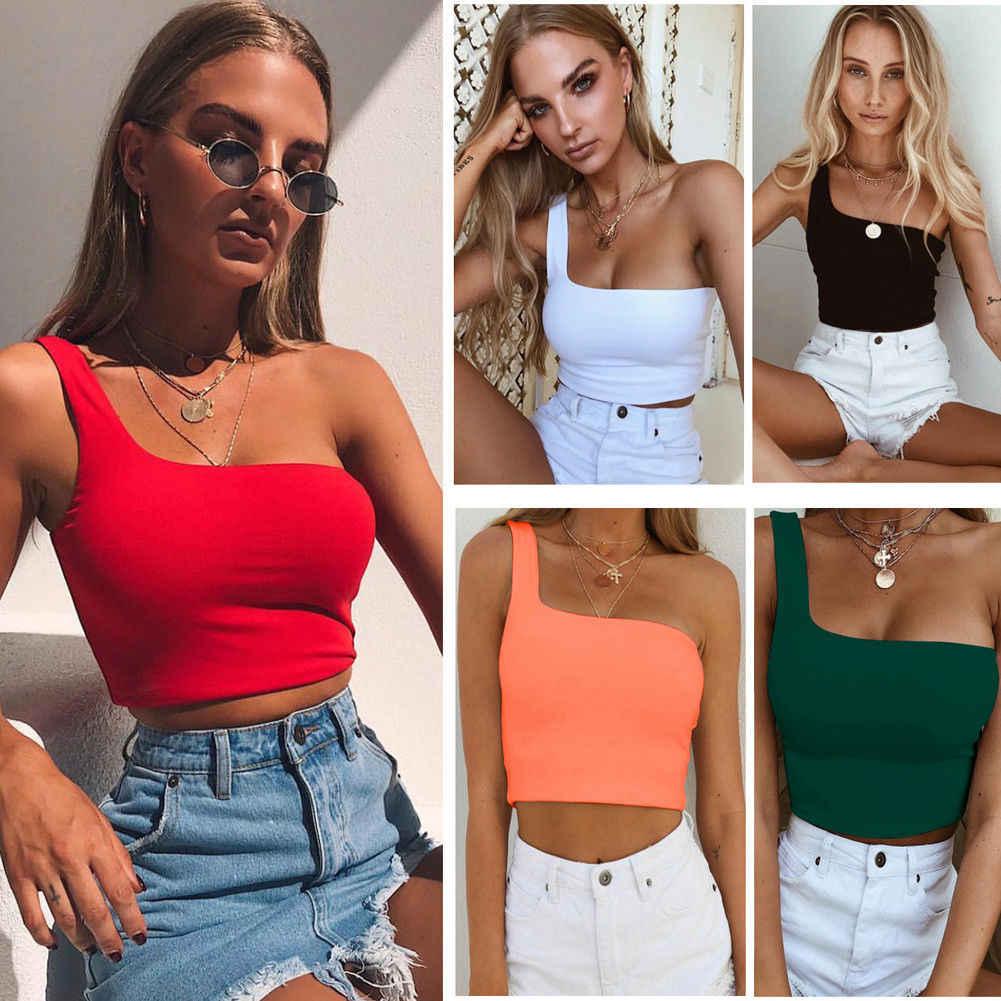 Kadınlar seksi serin tek bir omuz tankı üstleri yelek çıplak Midriff kolsuz T-Shirt yaz plaj kırpma üst