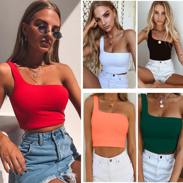 Women Sexy Cool Single One Shoulder Tank Tops Vest Bare Midriff Sleeveless T-Shirt Summer Beach Crop Top Uncategorized Fashion & Designs Women's Fashion