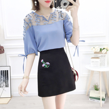 New Skirt Korean Fashion Suits Women Hollow Out Chiffon Blouse 2019 Summer Embroidered Skirts Two-Piece Outfit Vestido S M L
