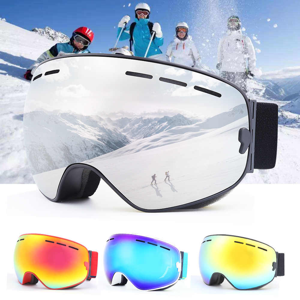 ea4d143cc0a Adult Men Women Professional Ski Goggles Snowboard With Case Double Lens  UV400 Anti-fog Winter