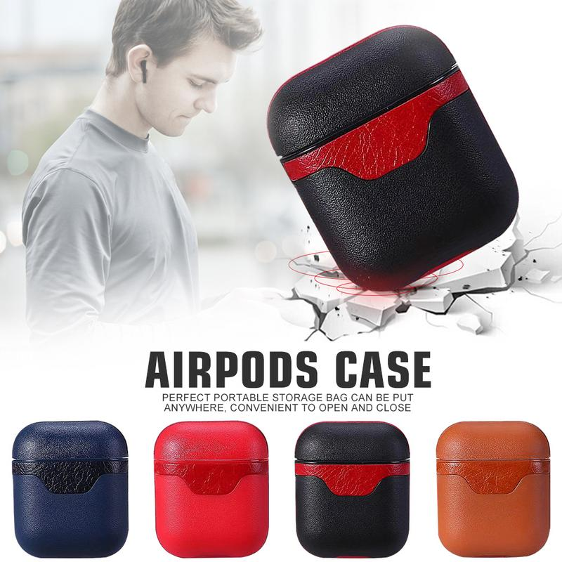 Airpods Leather Case Shockproof Case Cover Portable & Protective Skin Case For Apple Airpods Charging Case AirPods Accessories