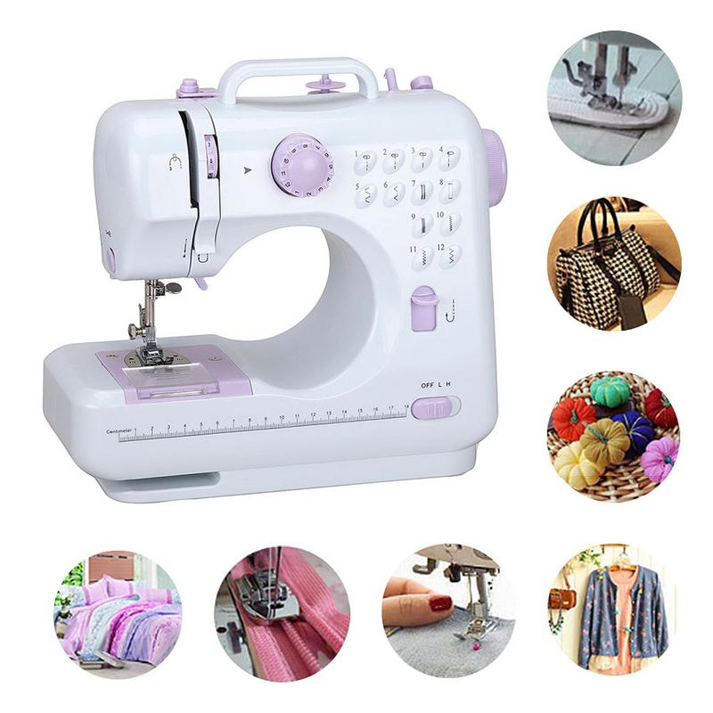 Mini 12 Stitches Sewing Machine Household Multifunction Double Thread And Speed Free-Arm Crafting Mending Machine US/UK/EU Plug