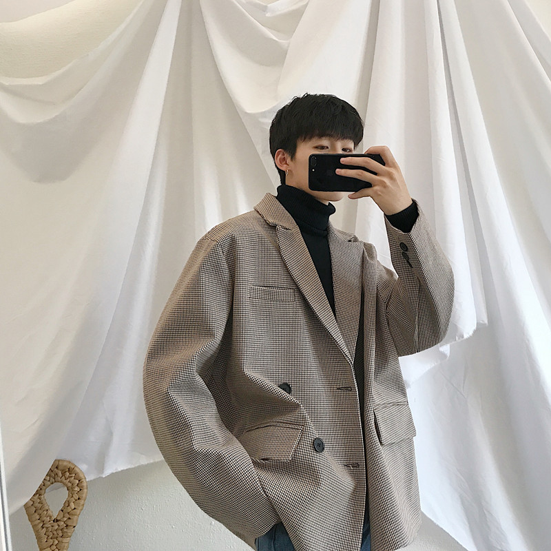 2019 Spring New Korean Version Of The Campus Wind Long Sleeve Loose Solid Color Casual Blazer Small Fresh Party Tour-in Blazers from Men's Clothing    2
