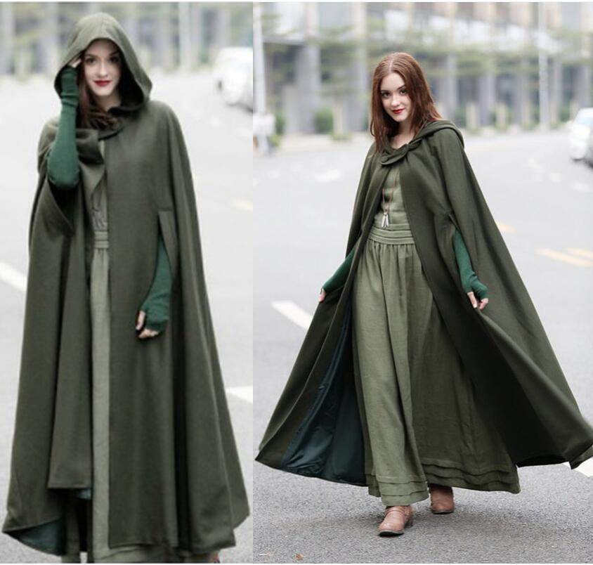 2019 new Women Cloak High Quality Designer Female Vintage Thick Hooded Floor Length Medieval Long Cape with Hoods Overcoat Loose