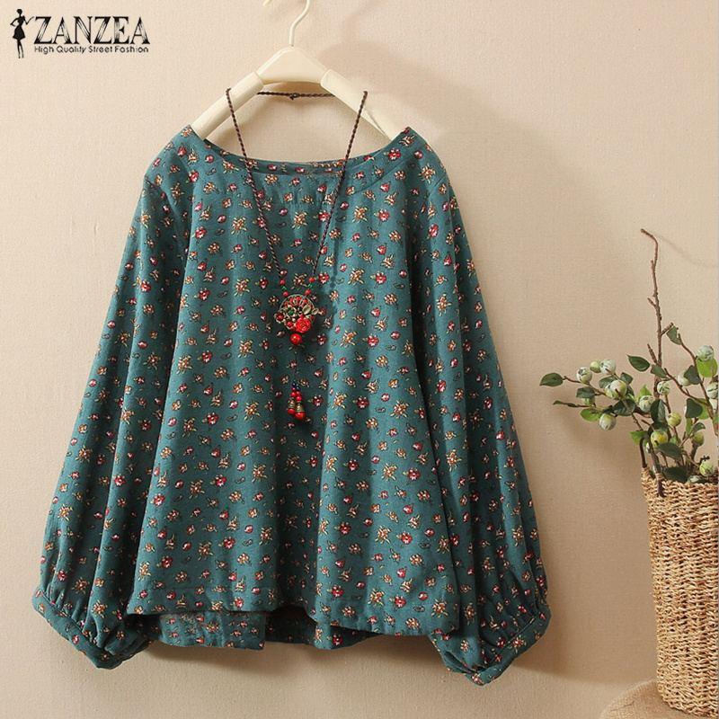 ZANZEA-Blusa holgada informal de algodón y lino para Primavera, camisa con estampado Floral y cuello redondo de manga larga para mujer, talla grande
