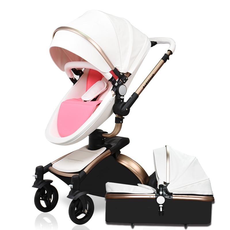 2019 Babyfond Bébé Poussette 360 tourner d'or cadre bébé voiture 2 dans 1 y compris de couchage panier Aulon En Cuir bébé poussette