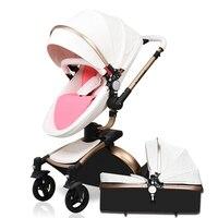 2019 Babyfond детская коляска 360 Вращающаяся Золотая рамка детская машина 2 в 1 включая спальную корзину Aulon кожаная детская коляска бренд