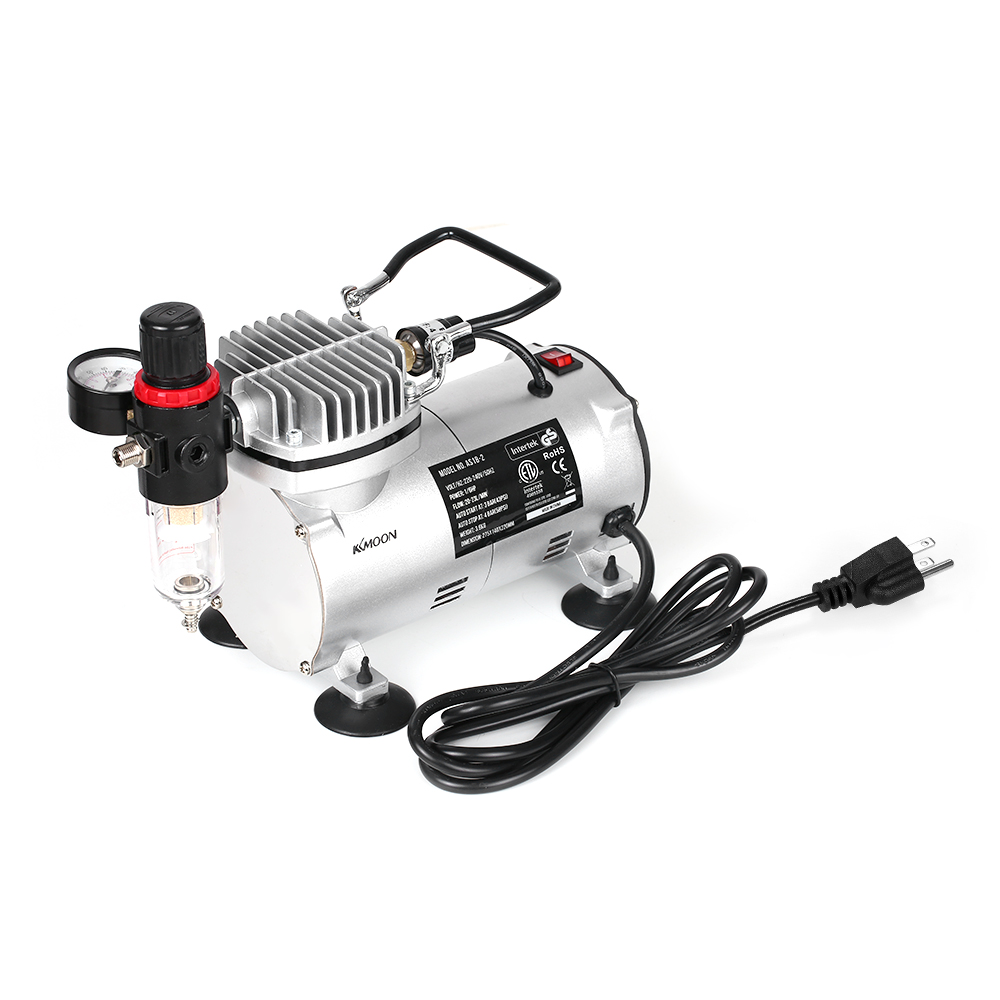 KKmoon 220V Mini Air Compressor Professional Gravity Feed Dual-Action Airbrush Piston Painting Craft Air CompressorKKmoon 220V Mini Air Compressor Professional Gravity Feed Dual-Action Airbrush Piston Painting Craft Air Compressor